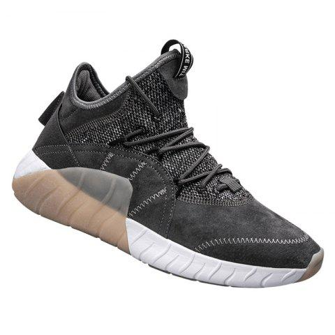 Men Athletic Shoes High-Top Rubber Sneakers Male Outdoor Professional Basketball Shoes Breathable Sports - GRAY 40