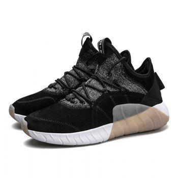 Men Athletic Shoes High-Top Rubber Sneakers Male Outdoor Professional Basketball Shoes Breathable Sports - BLACK BLACK