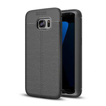 Case for Samsung Galaxy S7 Edge Shockproof Back Cover Solid Color Soft TPU - BLACK BLACK