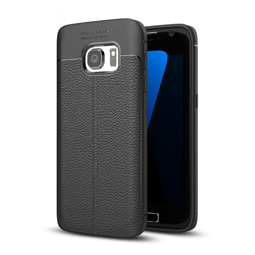 Case for Samsung Galaxy S7 Shockproof Back Cover Solid Color Soft TPU - BLACK