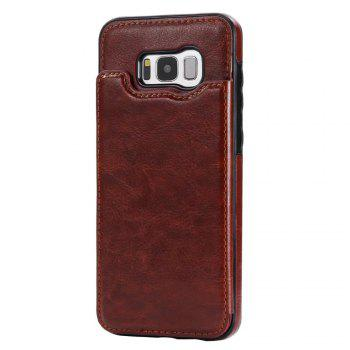 Case for Samsung Galaxy S8 Card Holder with Stand Back Cover Solid Color Hard PU Leather - BROWN BROWN