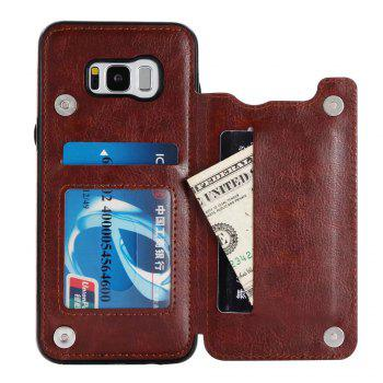 Case for Samsung Galaxy S8 Card Holder with Stand Back Cover Solid Color Hard PU Leather - BROWN