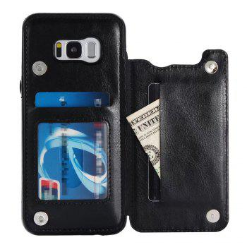 Case for Samsung Galaxy S8 Card Holder with Stand Back Cover Solid Color Hard PU Leather -  BLACK