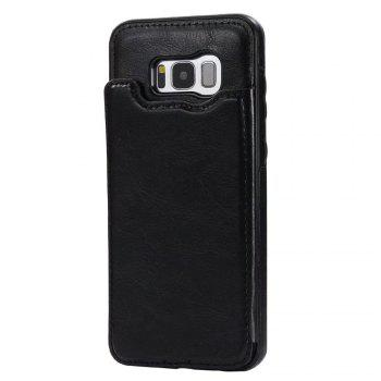 Case for Samsung Galaxy S8 Card Holder with Stand Back Cover Solid Color Hard PU Leather - BLACK BLACK