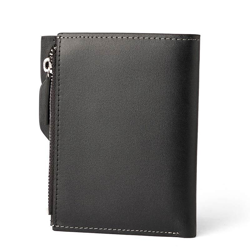 HAUT TON Genuine Leather Bifold and Trifold Wallets for Men Removable Flipout Card Holder - BLACK 10X1.5X12.4CM