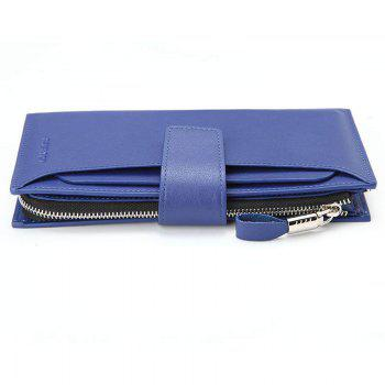 HAUT TON Men Genuine Leather Clutch Bag Handbag Organizer Checkbook Wallet Card Case - BLUE BLUE