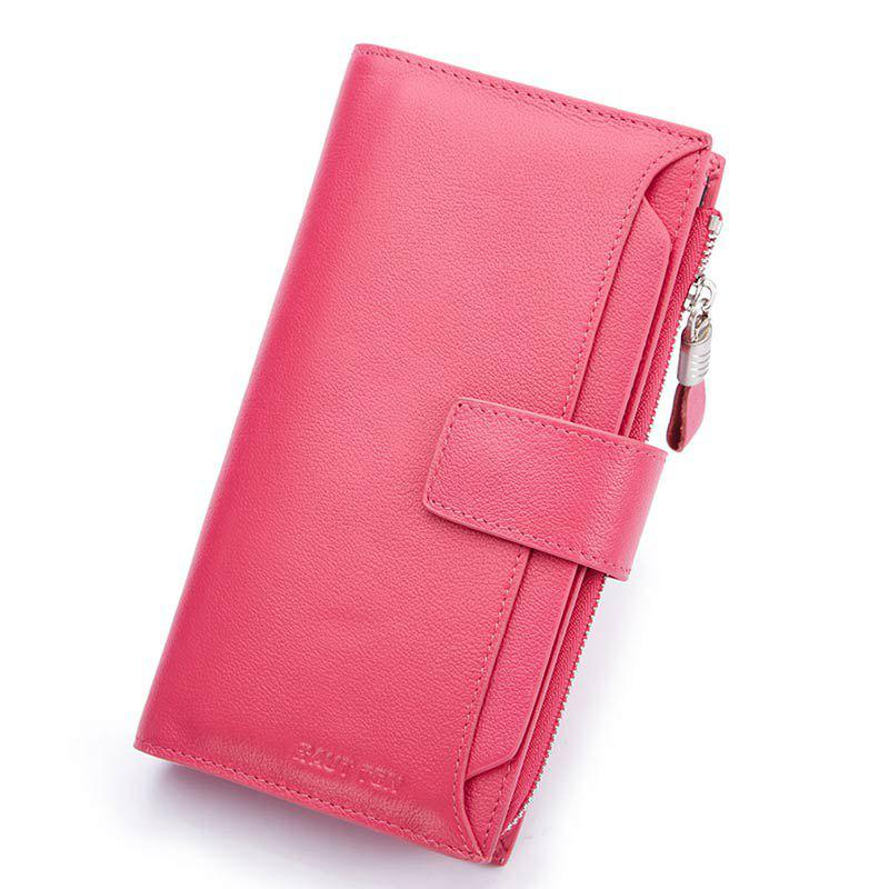 HAUT TON Men Genuine Leather Clutch Bag Handbag Organizer Checkbook Wallet Card Case - PINK 10X1.8X18.8CM