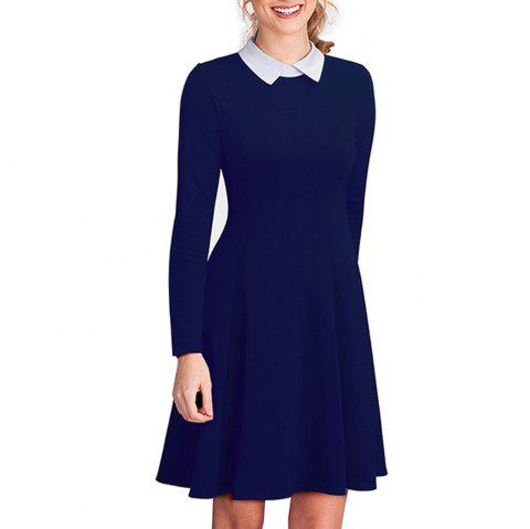 Vintage Classic Turn-down Neck Elegant Ladylike Charming Solid Full Length Sleeve Ball Gown Formal Woman Dress - DEEP BLUE 2XL