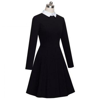 Vintage Classic Turn-down Neck Elegant Ladylike Charming Solid Full Length Sleeve Ball Gown Formal Woman Dress - BLACK BLACK