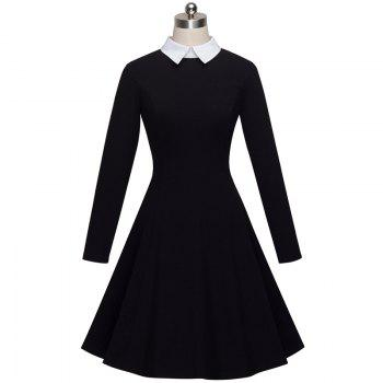 Vintage Classic Turn-down Neck Elegant Ladylike Charming Solid Full Length Sleeve Ball Gown Formal Woman Dress - BLACK L
