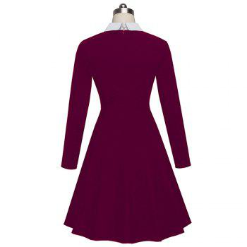 Vintage Classic Turn-down Neck Elegant Ladylike Charming Solid Full Length Sleeve Ball Gown Formal Woman Dress - MAGENTA L