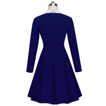 Vintage Classic Turn-down Neck Elegant Ladylike Charming Solid Full Length Sleeve Ball Gown Formal Woman Dress - DEEP BLUE XL