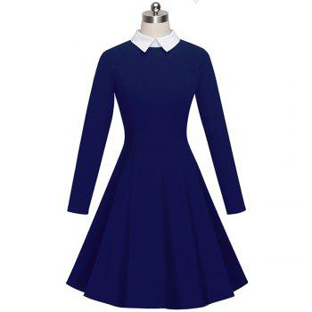 Vintage Classic Turn-down Neck Elegant Ladylike Charming Solid Full Length Sleeve Ball Gown Formal Woman Dress - DEEP BLUE DEEP BLUE