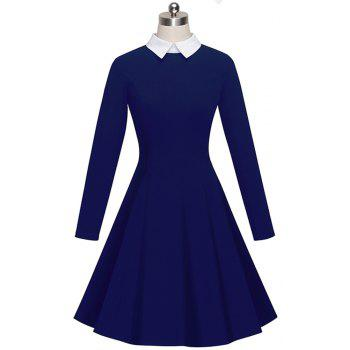 Vintage Classic Turn-down Neck Elegant Ladylike Charming Solid Full Length Sleeve Ball Gown Formal Woman Dress - DEEP BLUE L