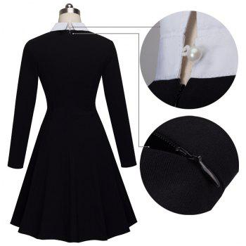 Vintage Classic Turn-down Neck Elegant Ladylike Charming Solid Full Length Sleeve Ball Gown Formal Woman Dress - BLACK S