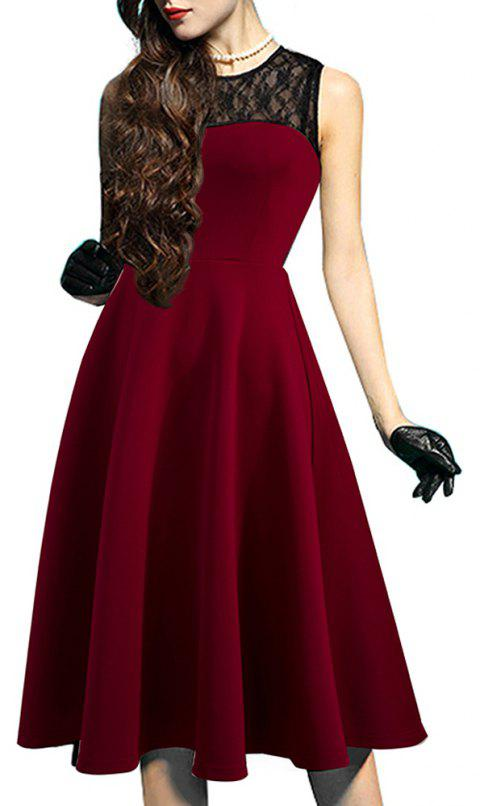 Elegant Ladylike Stylish Lace Charming Sexy Women O Neck Sleeveless Vintage Ball Gown Little Black Dress - DEEP RED 2XL