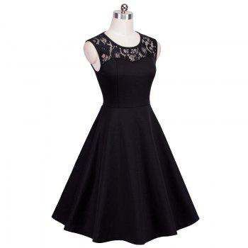 Elegant Ladylike Stylish Lace Charming Sexy Women O Neck Sleeveless Vintage Ball Gown Little Black Dress - BLACK 2XL