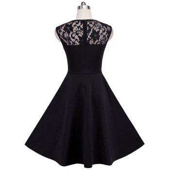 Elegant Ladylike Stylish Lace Charming Sexy Women O Neck Sleeveless Vintage Ball Gown Little Black Dress - BLACK S