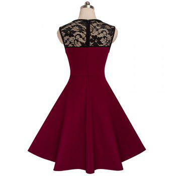 Elegant Ladylike Stylish Lace Charming Sexy Women O Neck Sleeveless Vintage Ball Gown Little Black Dress - DEEP RED L