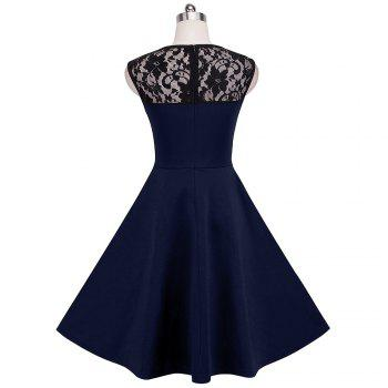 Elegant Ladylike Stylish Lace Charming Sexy Women O Neck Sleeveless Vintage Ball Gown Little Black Dress - DEEP BLUE DEEP BLUE