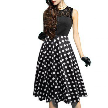 Elegant Ladylike Stylish Lace Charming Sexy Women O Neck Sleeveless Vintage Ball Gown Little Black Dress - DOT PATTERN DOT PATTERN