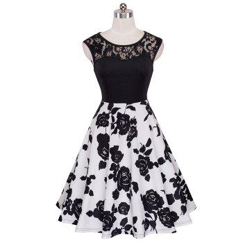 Elegant Ladylike Stylish Lace Charming Sexy Women O Neck Sleeveless Vintage Ball Gown Little Black Dress - BLACK / WHITE XL