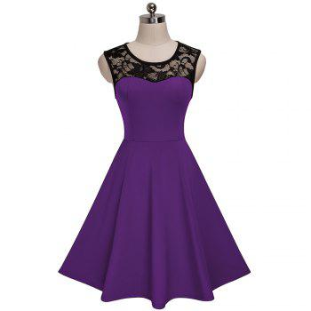 Elegant Ladylike Stylish Lace Charming Sexy Women O Neck Sleeveless Vintage Ball Gown Little Black Dress - PURPLE S