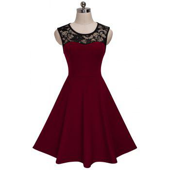 Elegant Ladylike Stylish Lace Charming Sexy Women O Neck Sleeveless Vintage Ball Gown Little Black Dress - DEEP RED XL