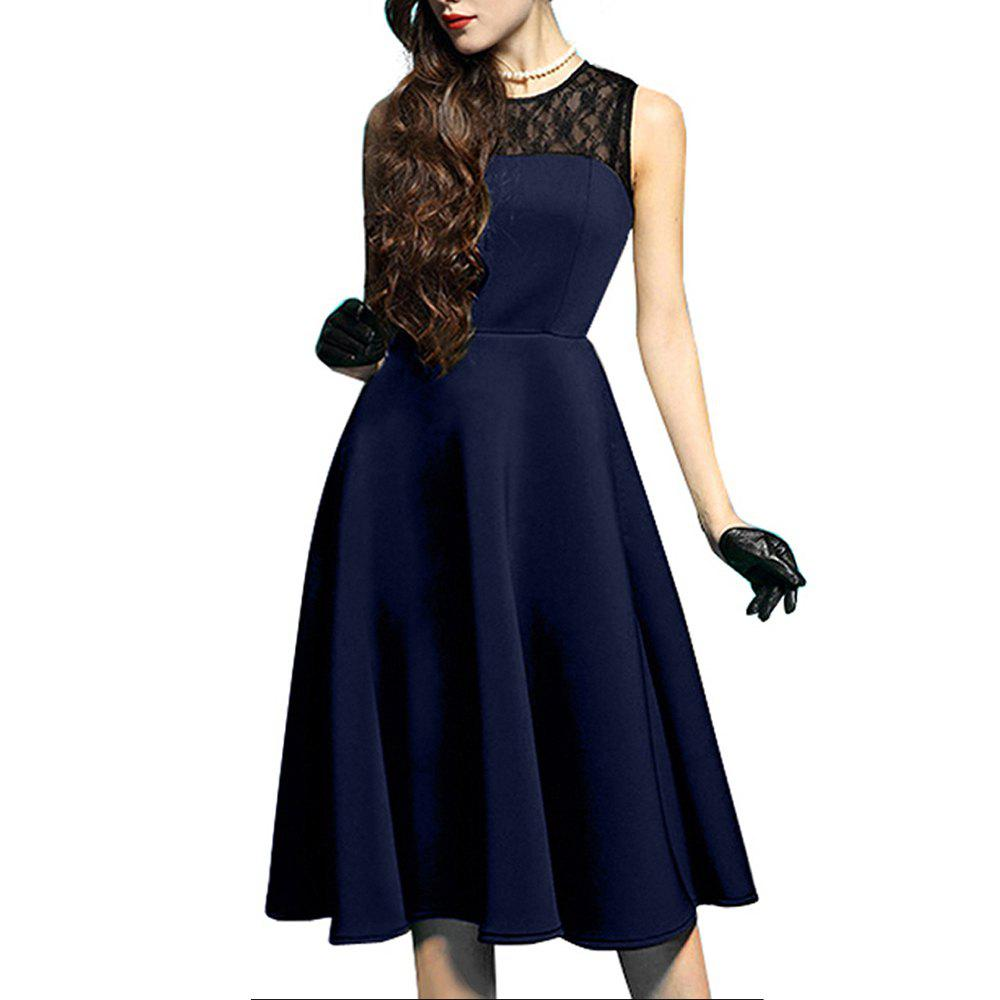 Elegant Ladylike Stylish Lace Charming Sexy Women O Neck Sleeveless Vintage Ball Gown Little Black Dress - DEEP BLUE S