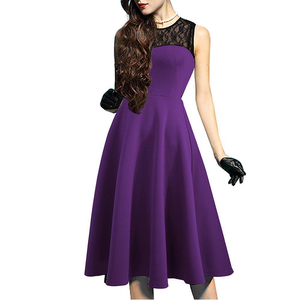 Elegant Ladylike Stylish Lace Charming Sexy Women O Neck Sleeveless Vintage Ball Gown Little Black Dress - PURPLE M