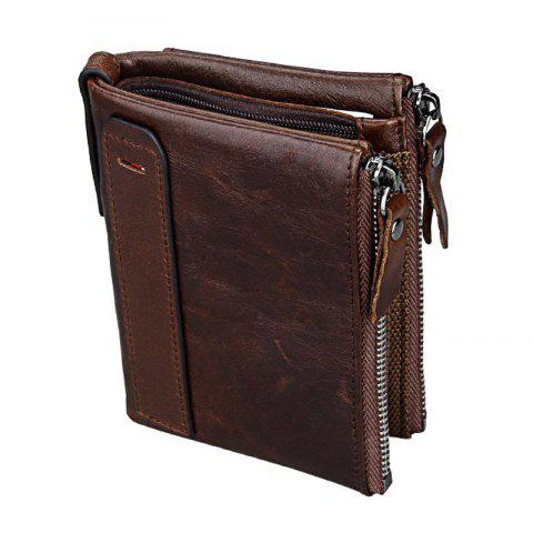 Short Retro Men Wallet Business Genuine Leather Coin Wallets Male Purse Credit Cards Holder Double Zipper - COFFEE