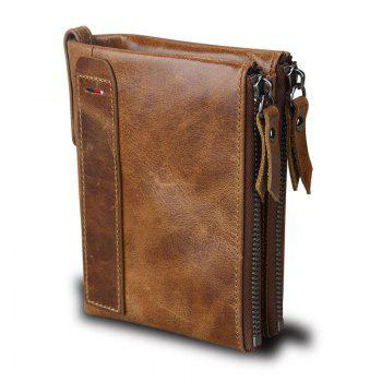 Short Retro Men Wallet Business Genuine Leather Coin Wallets Male Purse Credit Cards Holder Double Zipper - BROWN BROWN
