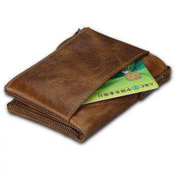 Short Retro Men Wallet Business Genuine Leather Coin Wallets Male Purse Credit Cards Holder Double Zipper - BROWN