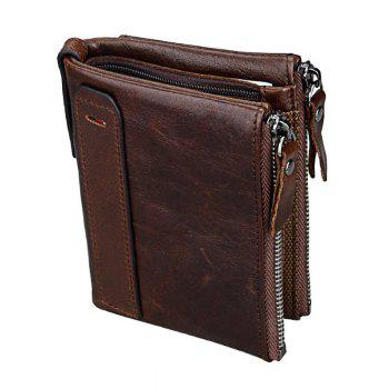 Short Retro Men Wallet Business Genuine Leather Coin Wallets Male Purse Credit Cards Holder Double Zipper - COFFEE COFFEE