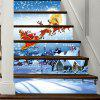 Christmas Snowy Night Santa Pattern Decorative Stair Decal 6PCS - COLORMIX