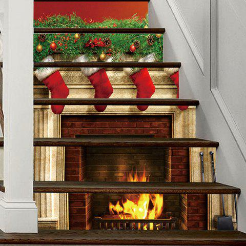 christmas fireplace stockings pattern decorative stair decal 6pcs colormix