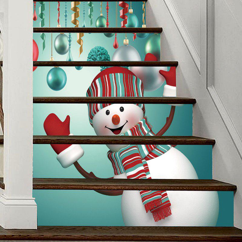 Christmas Snowman Baubles Pattern Decorative Stair Decal 6PCS - COLORMIX