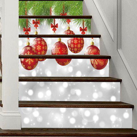Christmas Lantern Pattern Decorative Stair Decal 6PCS - COLORMIX