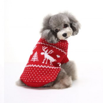 Elk Pattern Dog Sweater Christmas Costumes