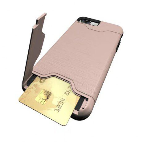 Impact Resistant Hybrid Wallet Case Protective Shell Shockproof Rugged Rubber Bumper Anti-Scratch Hard Cover Skin Card Holder for IPhone 7 Plus 5.5 Inch - GOLDEN FOR IPHONE 7 PLUS/8 PLUS