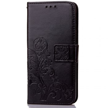 Lucky Clover Card Lanyard Pu Leather Cover for Cubot X15 - BLACK