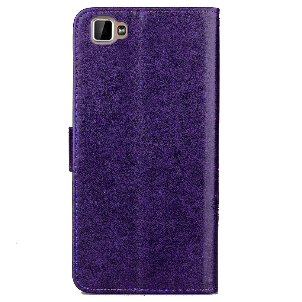 Lucky Clover Card Lanyard Pu Leather Cover for Cubot X15 - PURPLE
