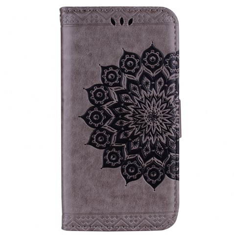 Bling Bling Style Datura Flower Pattern Flip PU Leather Wallet Case for iPhone 7 - GRAY