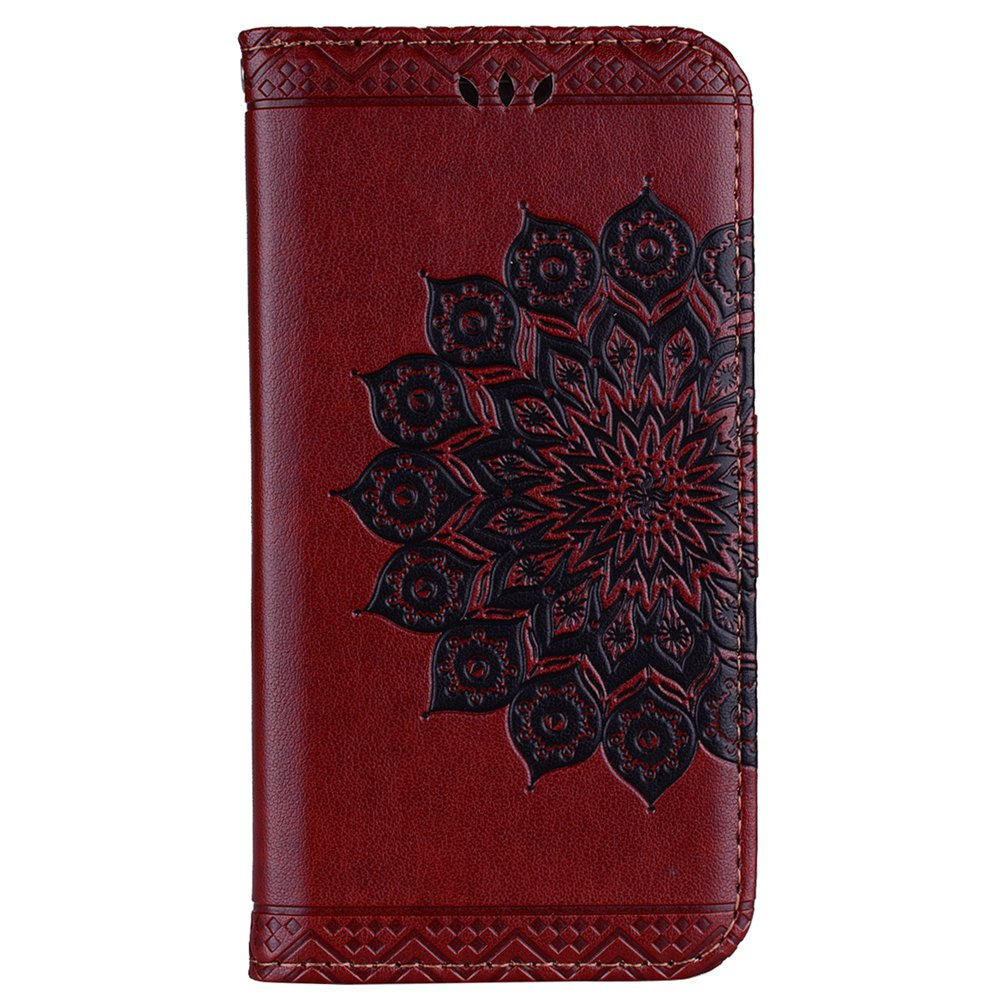 Bling Bling Style Datura Flower Pattern Flip PU Leather Wallet Case for iPhone 7 - BROWN