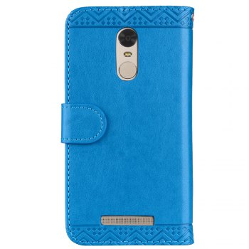 Bling Bling Style Datura Flower Pattern Flip PU Leather Wallet Case for Xiaomi Redmi Note 3 - BLUE