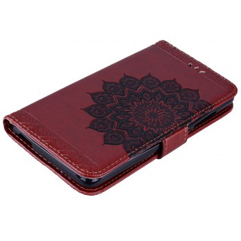 Bling Bling Style Datura Flower Pattern Flip PU Leather Wallet Case for Xiaomi Redmi Note 3 - BROWN