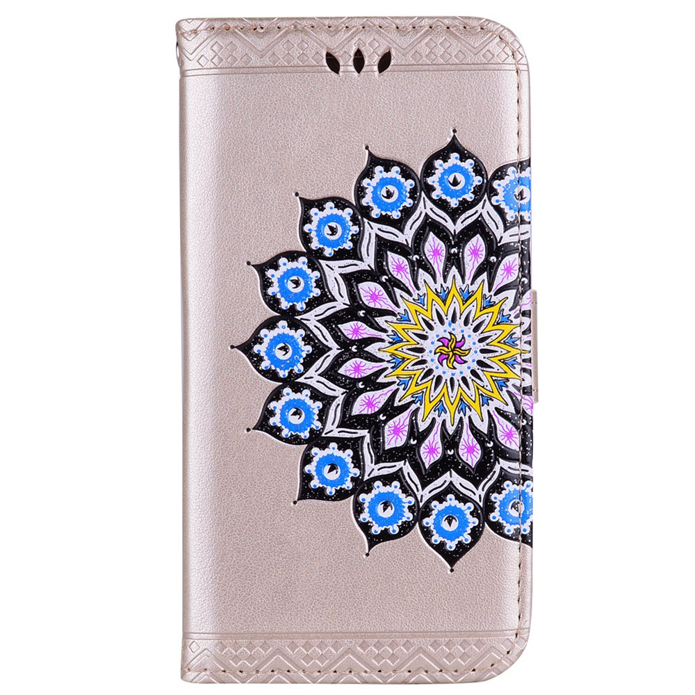 Bling Bling Style Datura Flower Pattern Flip PU Leather Wallet Case for Xiaomi Redmi Note 3 - GOLDEN