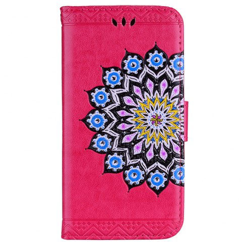 Bling Bling Style Datura Flower Pattern Flip PU Leather Wallet Case for Xiaomi Redmi Note 4 - RED