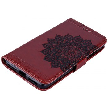 Bling Bling Style Datura Flower Pattern Flip PU Leather Wallet Case for Xiaomi Redmi Note 4 - BROWN