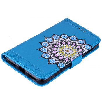 Bling Bling Style Datura Flower Pattern Flip PU Leather Wallet Case for Xiaomi Redmi Note 4 - BLUE